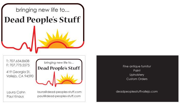Dead People's Stuff logo and business card