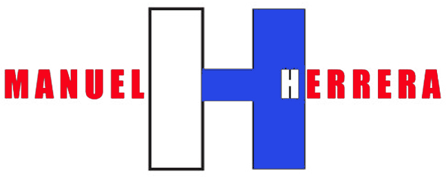 Manuel H logo colored red white blue